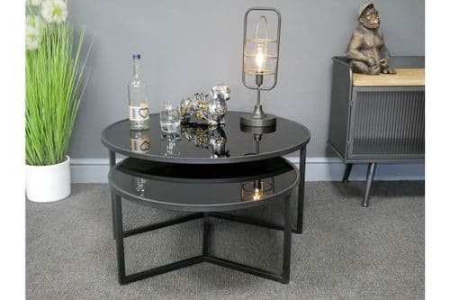 BLACK METAL & GLASS SET OF 2 NEST OF COFFEE TABLES (DX6851)